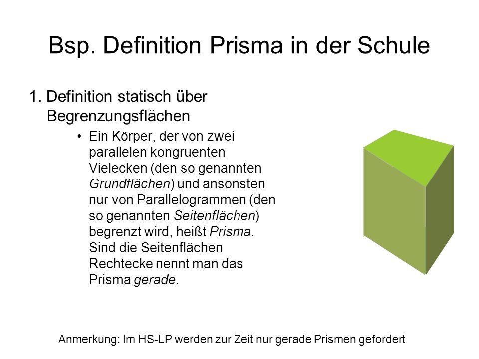 Bsp. Definition Prisma in der Schule