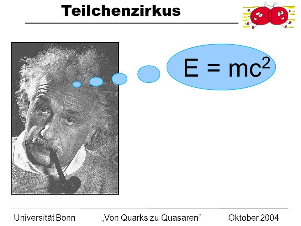 """E = mc2 Universität Bonn """"Von Quarks zu Quasaren Oktober 2004"""