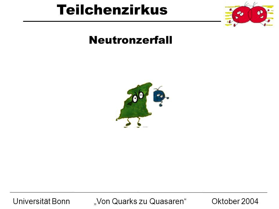 """Neutronzerfall Universität Bonn """"Von Quarks zu Quasaren Oktober 2004"""