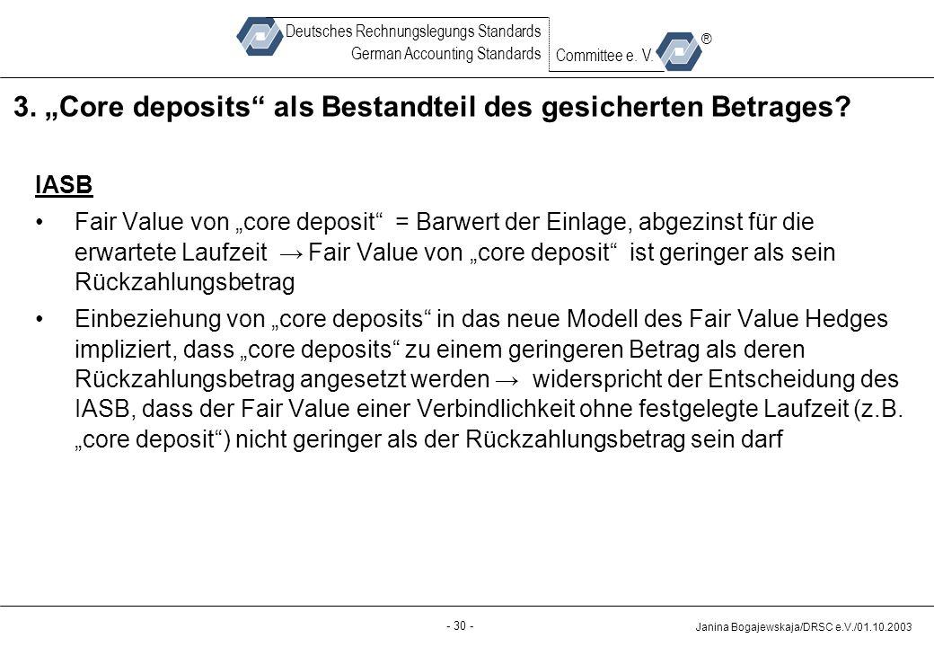 """3. """"Core deposits als Bestandteil des gesicherten Betrages"""