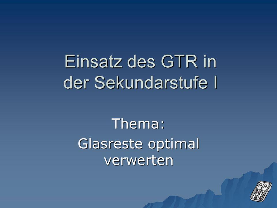 Einsatz des GTR in der Sekundarstufe I