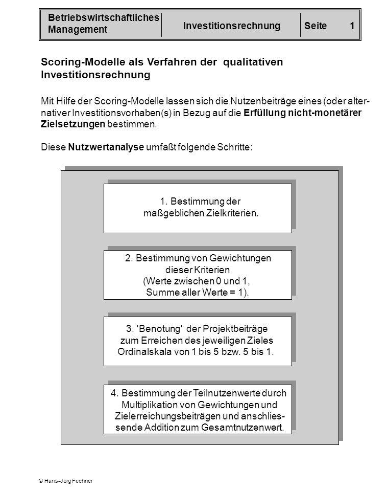 Scoring-Modelle als Verfahren der qualitativen Investitionsrechnung