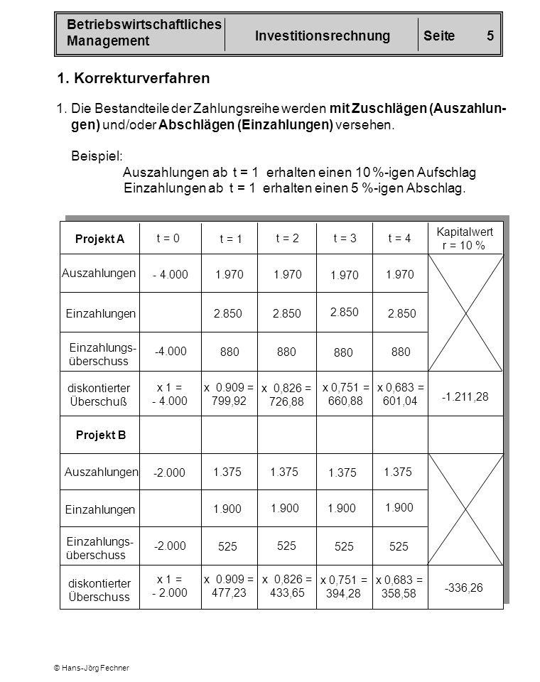 1. Korrekturverfahren 1. Die Bestandteile der Zahlungsreihe werden mit Zuschlägen (Auszahlun- gen) und/oder Abschlägen (Einzahlungen) versehen.