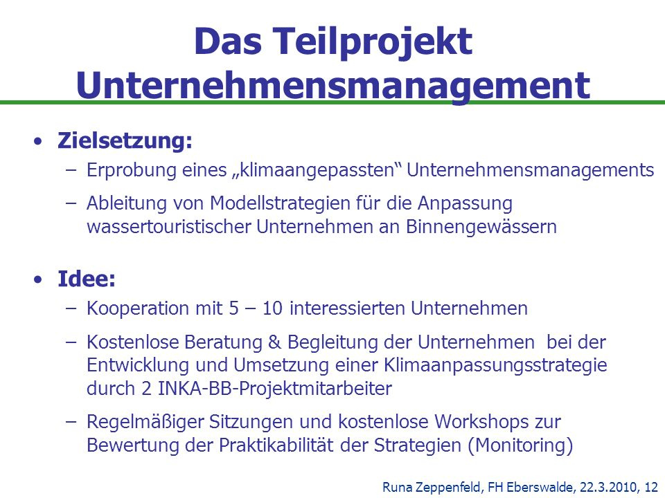 Das Teilprojekt Unternehmensmanagement