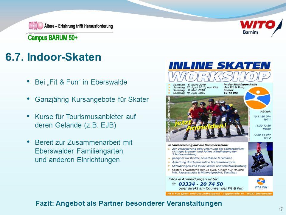 """6.7. Indoor-Skaten Bei """"Fit & Fun in Eberswalde"""