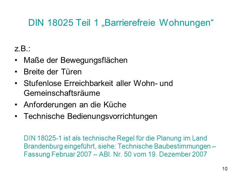 """DIN 18025 Teil 1 """"Barrierefreie Wohnungen"""