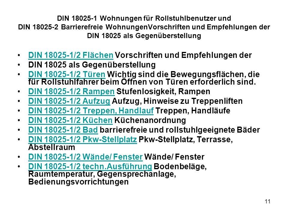 DIN 18025-1/2 Flächen Vorschriften und Empfehlungen der
