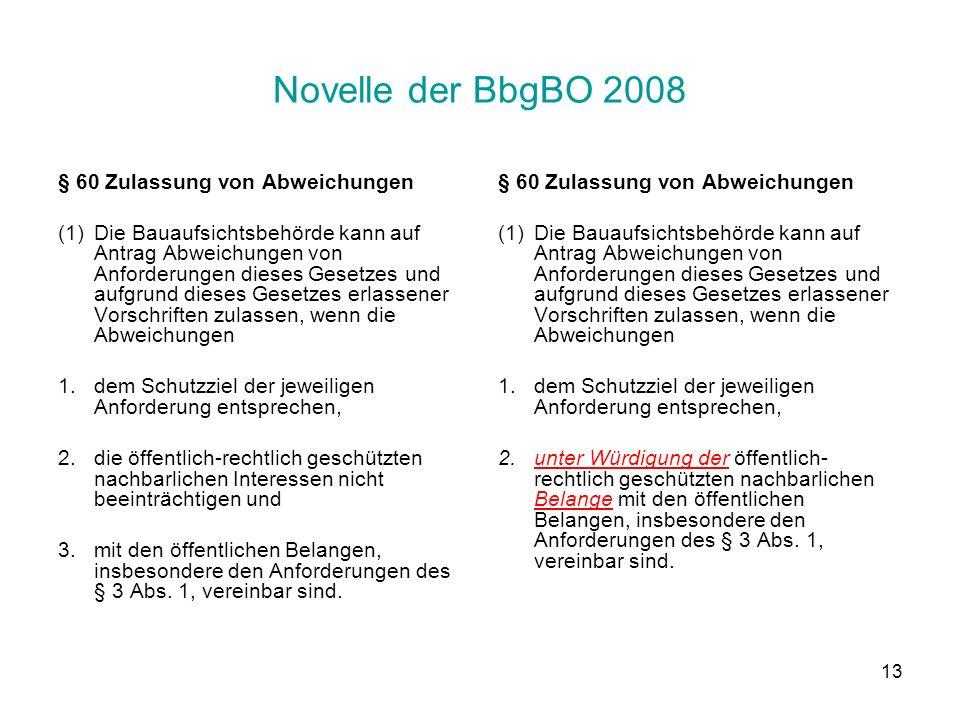Novelle der BbgBO 2008 § 60 Zulassung von Abweichungen