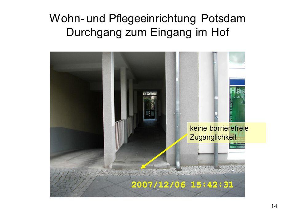 Wohn- und Pflegeeinrichtung Potsdam Durchgang zum Eingang im Hof