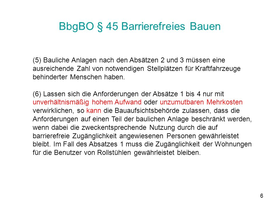BbgBO § 45 Barrierefreies Bauen