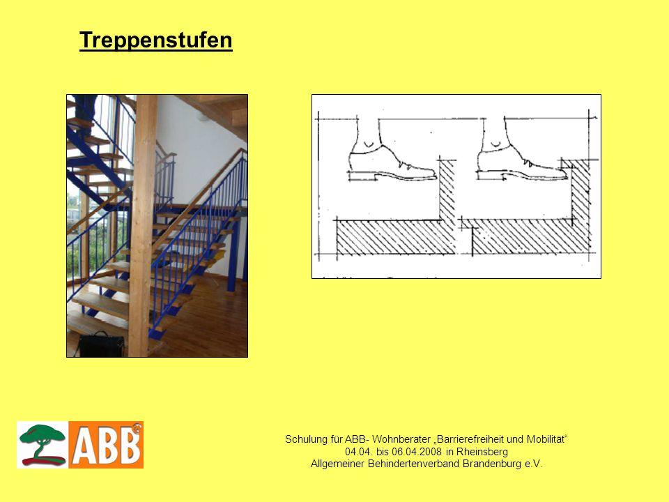 """Treppenstufen Schulung für ABB- Wohnberater """"Barrierefreiheit und Mobilität 04.04. bis 06.04.2008 in Rheinsberg."""