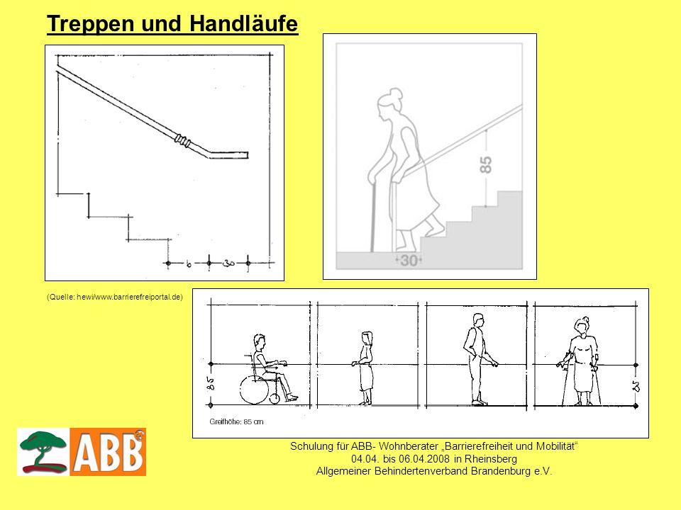 """Treppen und Handläufe (Quelle: hewi/www.barrierefreiportal.de) Schulung für ABB- Wohnberater """"Barrierefreiheit und Mobilität"""
