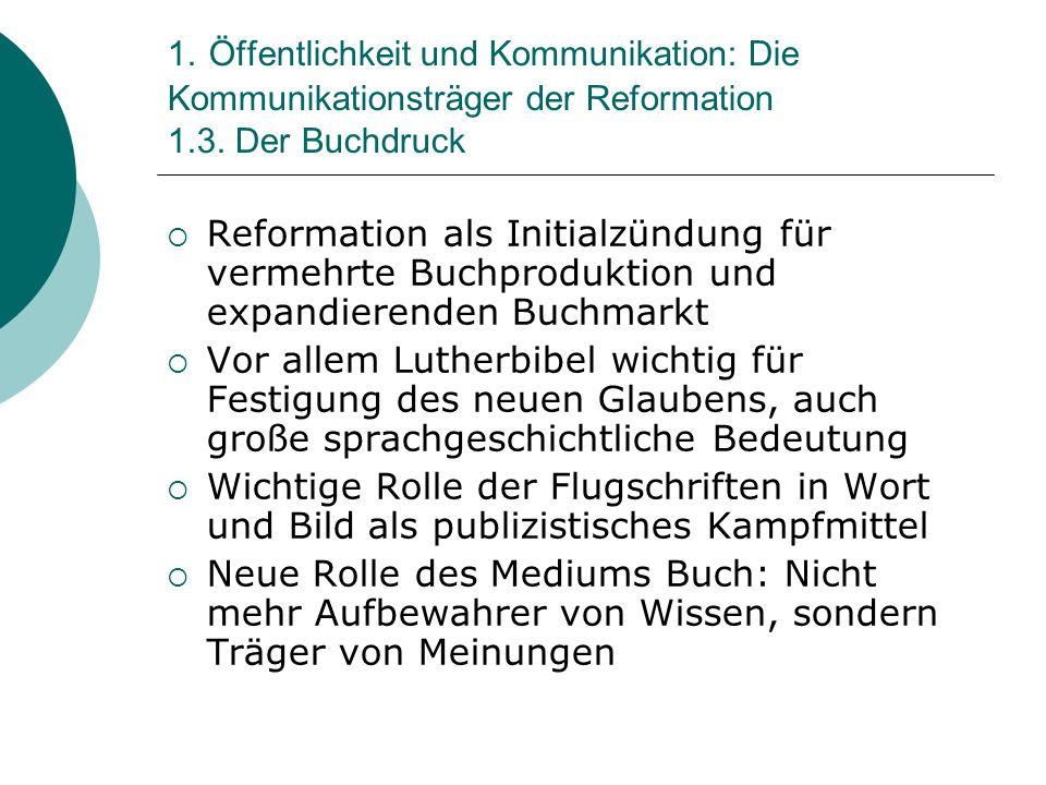 1. Öffentlichkeit und Kommunikation: Die Kommunikationsträger der Reformation 1.3. Der Buchdruck