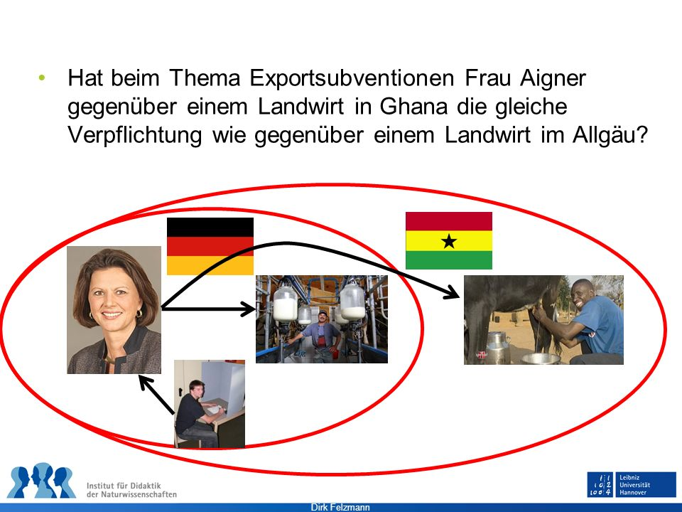 Hat beim Thema Exportsubventionen Frau Aigner gegenüber einem Landwirt in Ghana die gleiche Verpflichtung wie gegenüber einem Landwirt im Allgäu