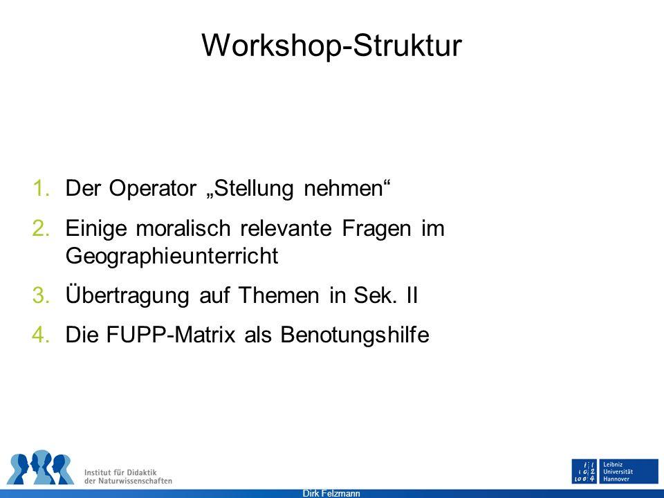 """Workshop-Struktur Der Operator """"Stellung nehmen"""