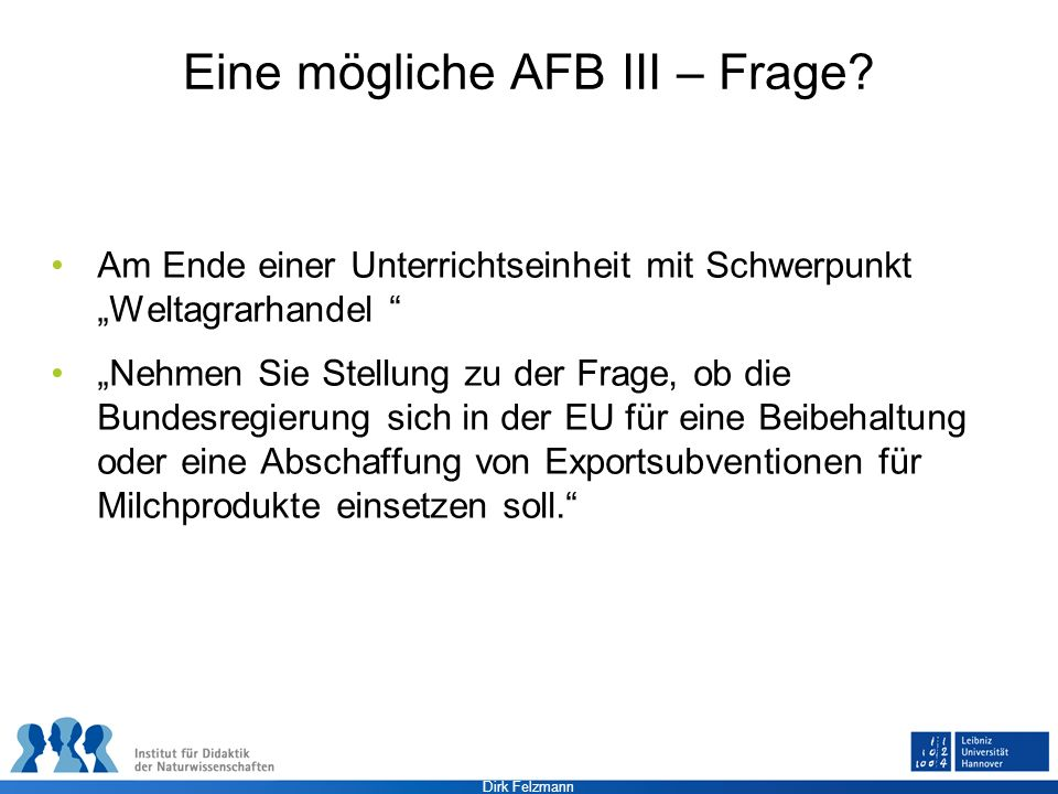 Eine mögliche AFB III – Frage