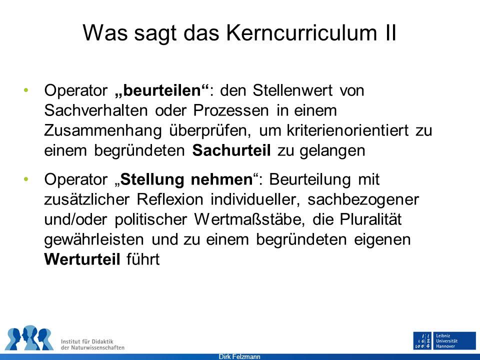 Was sagt das Kerncurriculum II