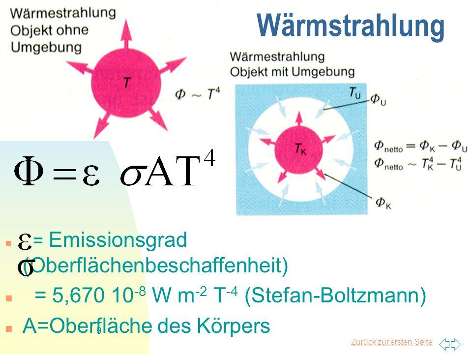 Wärmstrahlung = 5,670 10-8 W m-2 T-4 (Stefan-Boltzmann)