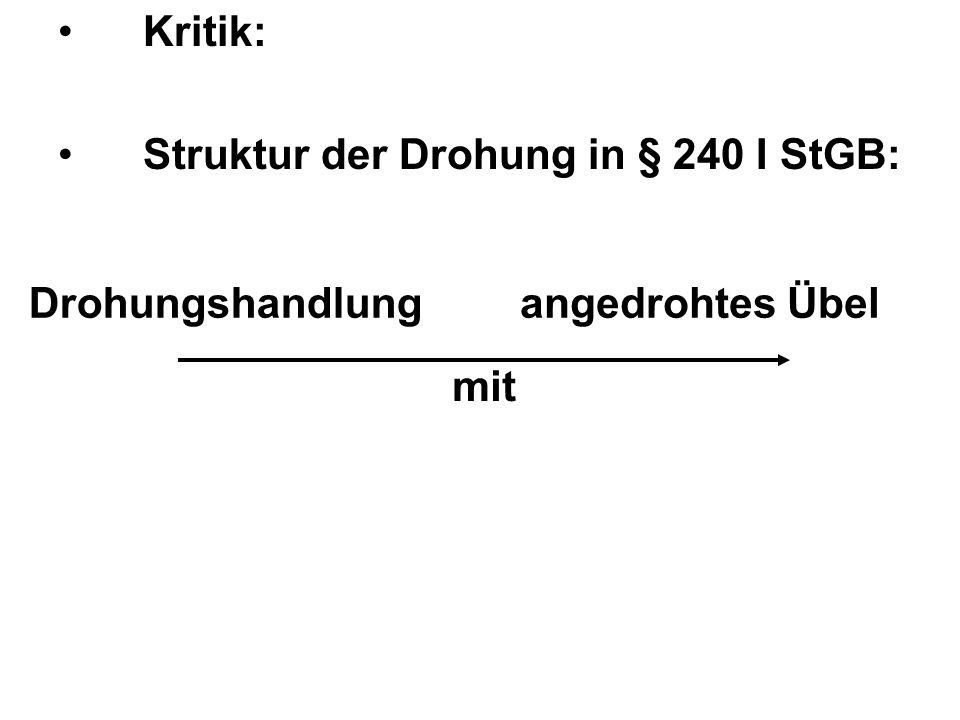 Kritik: Struktur der Drohung in § 240 I StGB: Drohungshandlung angedrohtes Übel mit