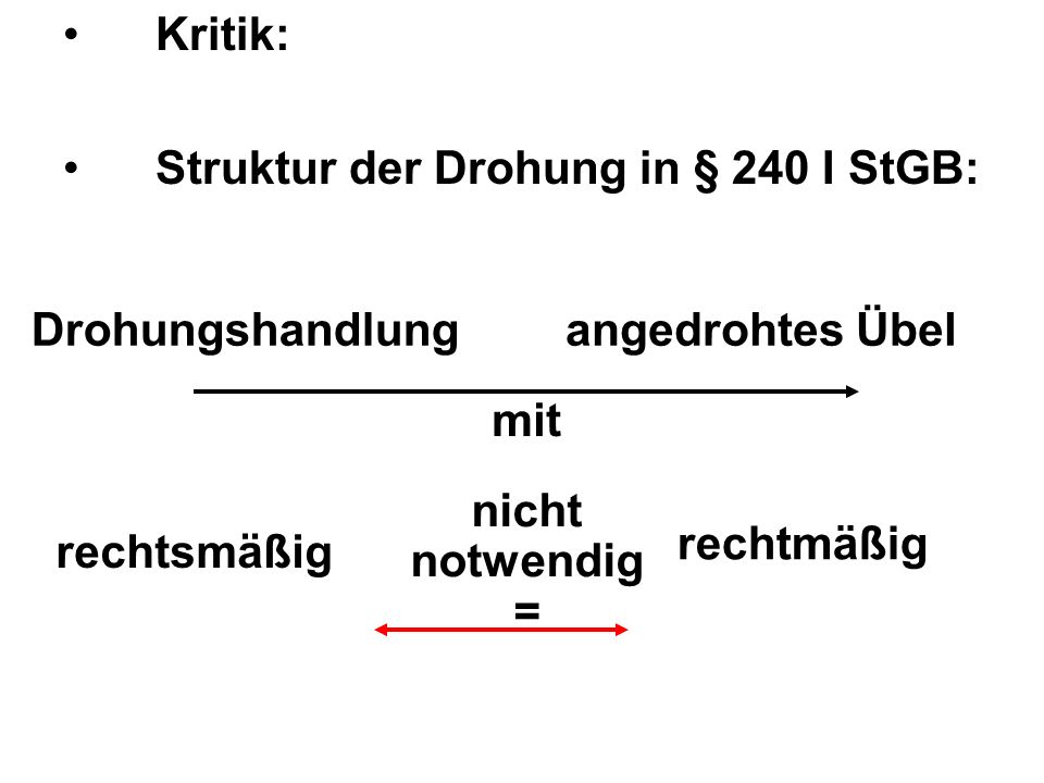 Kritik: Struktur der Drohung in § 240 I StGB: Drohungshandlung. angedrohtes Übel. mit. nicht. notwendig.