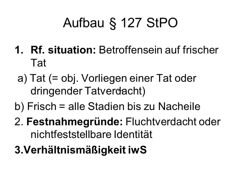 Aufbau § 127 StPO Rf. situation: Betroffensein auf frischer Tat