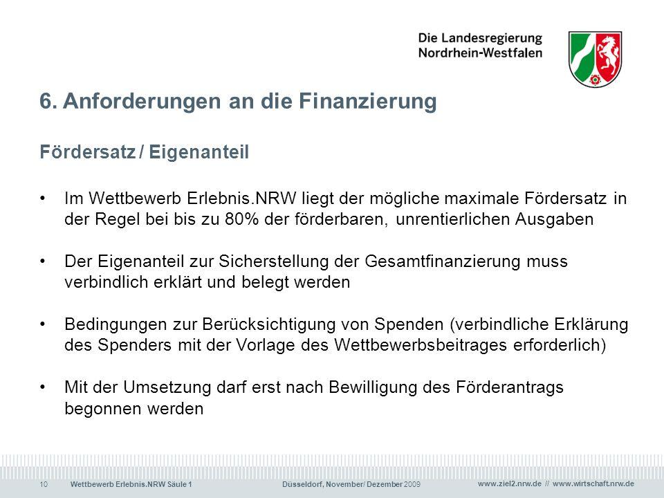 6. Anforderungen an die Finanzierung