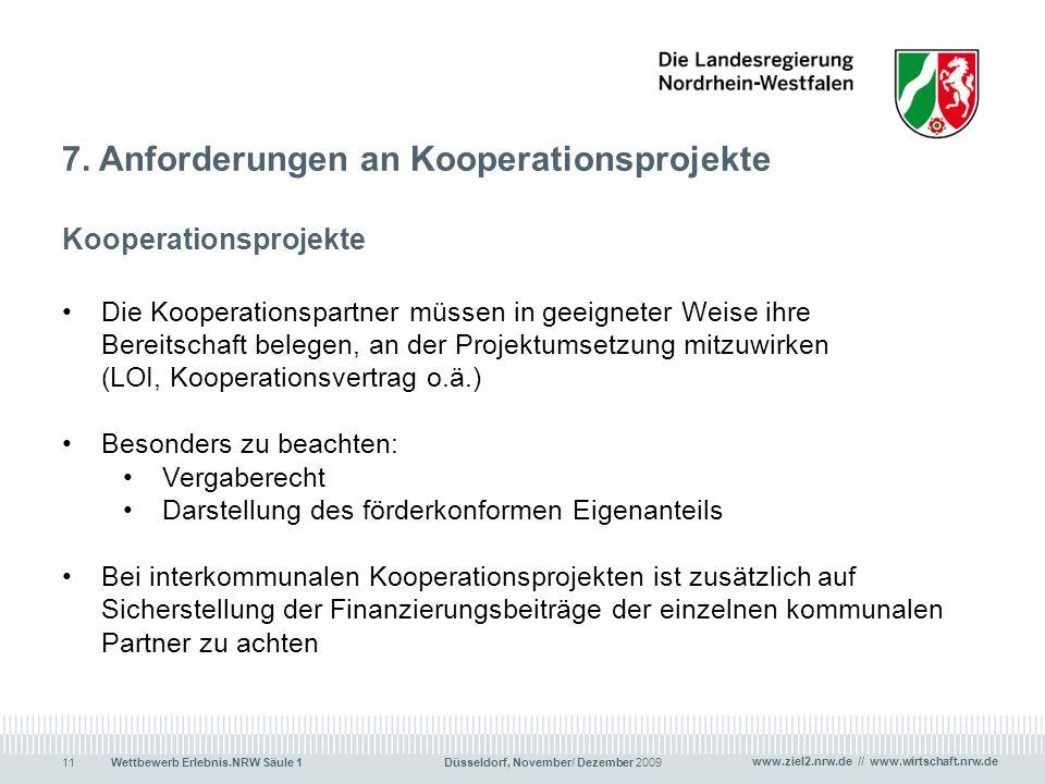 7. Anforderungen an Kooperationsprojekte