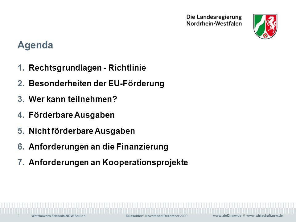Agenda Rechtsgrundlagen - Richtlinie Besonderheiten der EU-Förderung