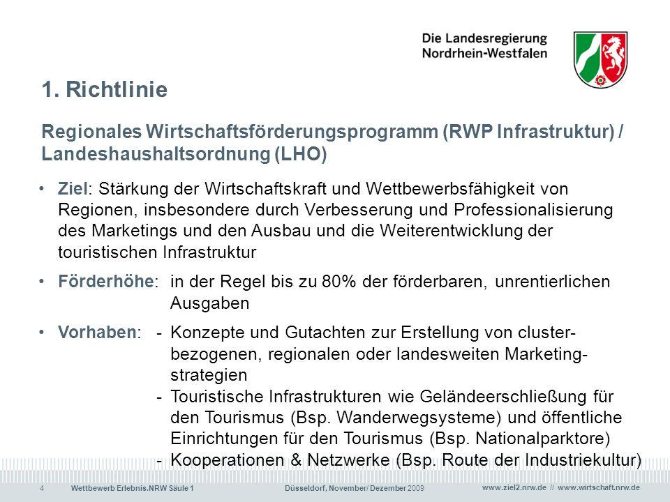 1. Richtlinie Regionales Wirtschaftsförderungsprogramm (RWP Infrastruktur) / Landeshaushaltsordnung (LHO)