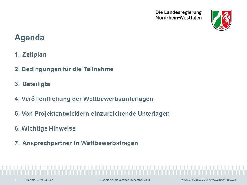 Agenda 1. Zeitplan 2. Bedingungen für die Teilnahme 3. Beteiligte