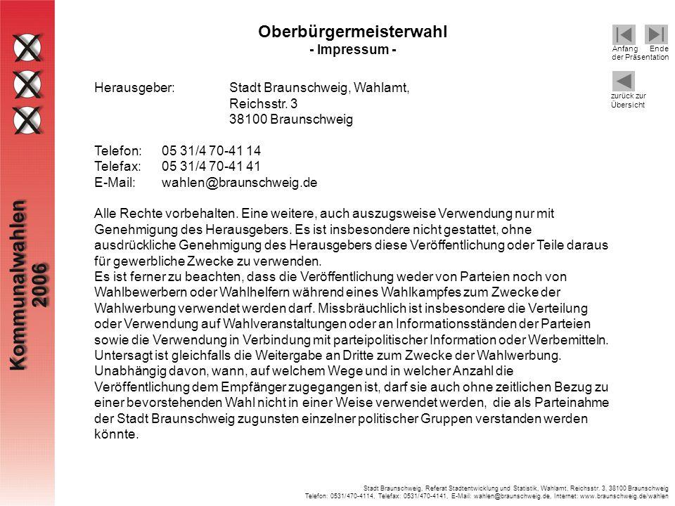 Oberbürgermeisterwahl - Impressum -