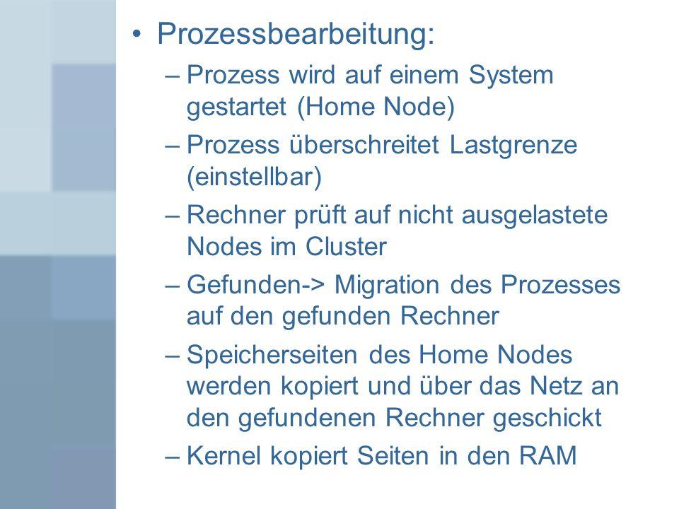 Prozessbearbeitung: Prozess wird auf einem System gestartet (Home Node) Prozess überschreitet Lastgrenze (einstellbar)
