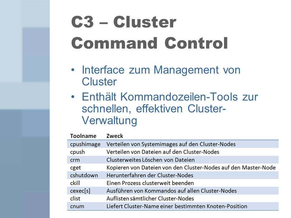 C3 – Cluster Command Control