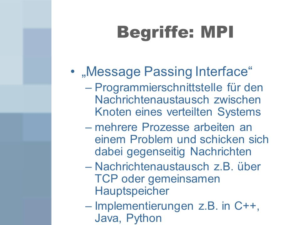 "Begriffe: MPI ""Message Passing Interface"