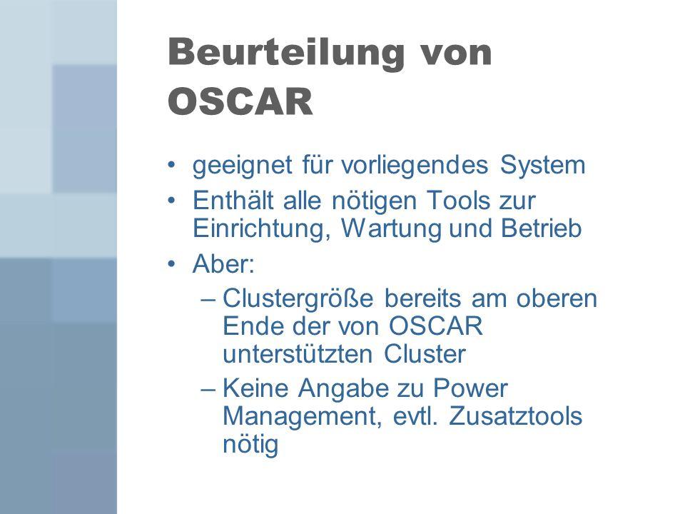 Beurteilung von OSCAR geeignet für vorliegendes System