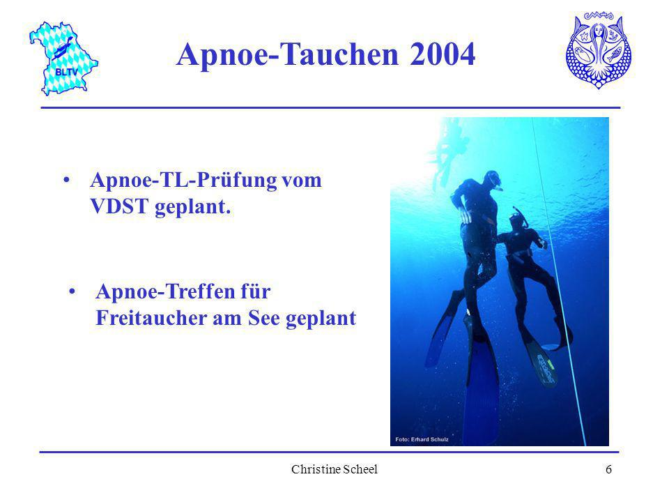 Apnoe-Tauchen 2004 Apnoe-TL-Prüfung vom VDST geplant.