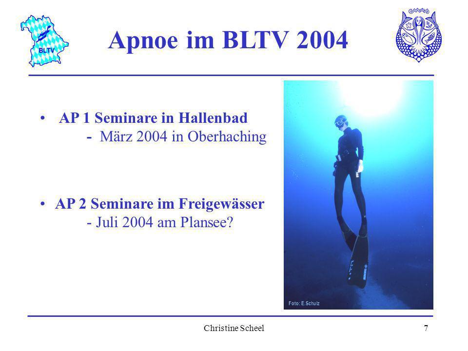 Apnoe im BLTV 2004 Foto: E.Schulz. AP 1 Seminare in Hallenbad - März 2004 in Oberhaching.