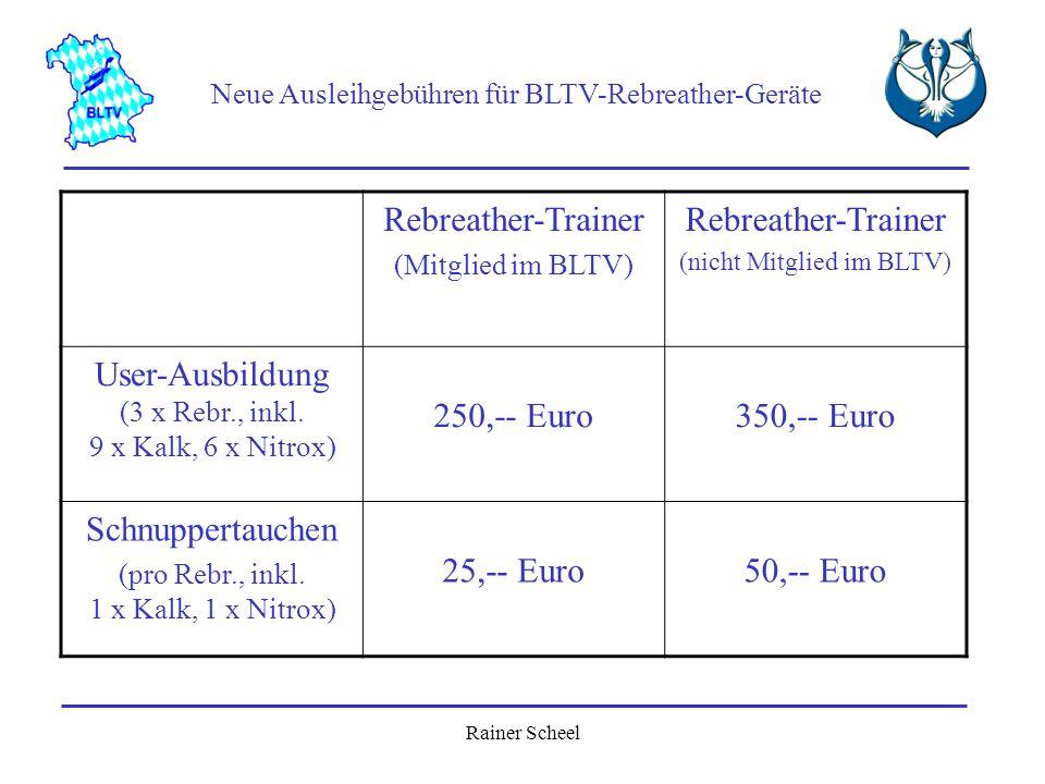 User-Ausbildung (3 x Rebr., inkl. 9 x Kalk, 6 x Nitrox) 250,-- Euro