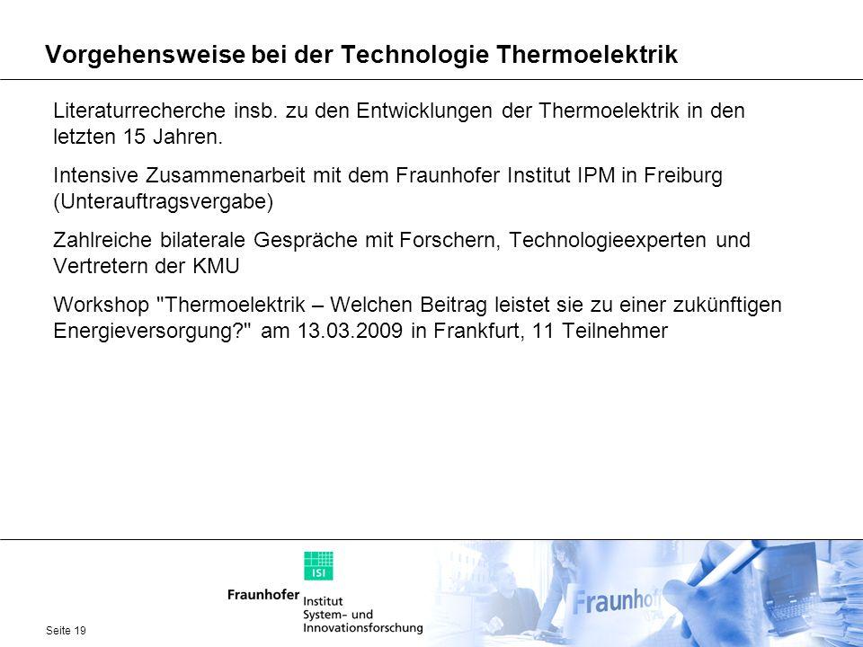 Vorgehensweise bei der Technologie Thermoelektrik