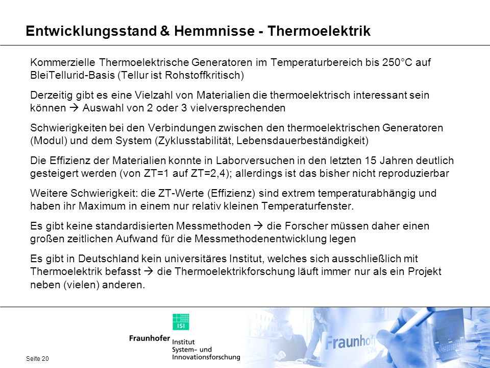 Entwicklungsstand & Hemmnisse - Thermoelektrik