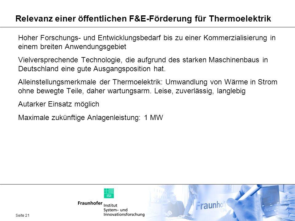 Relevanz einer öffentlichen F&E-Förderung für Thermoelektrik