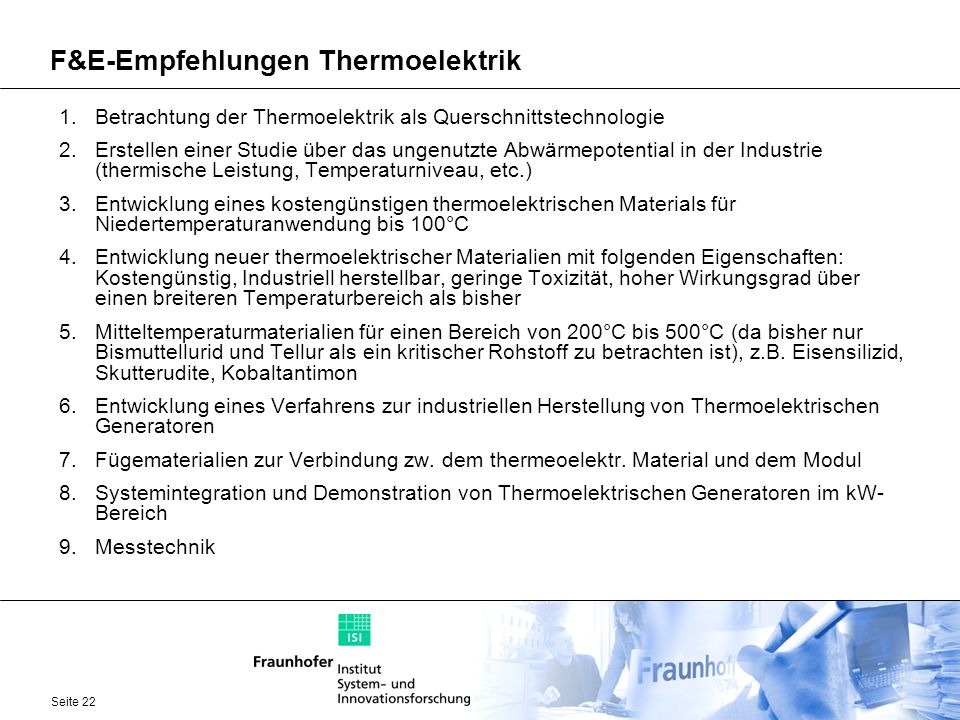 F&E-Empfehlungen Thermoelektrik