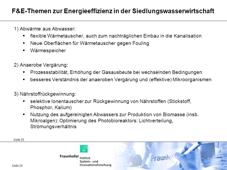 F&E-Themen zur Energieeffizienz in der Siedlungswasserwirtschaft