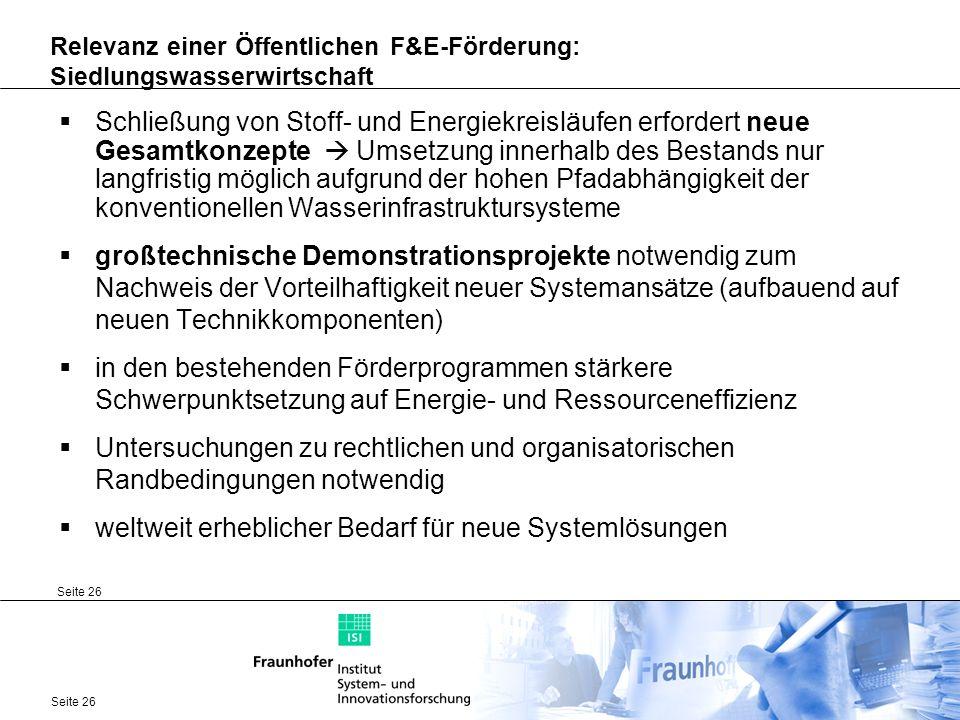 Relevanz einer Öffentlichen F&E-Förderung: Siedlungswasserwirtschaft