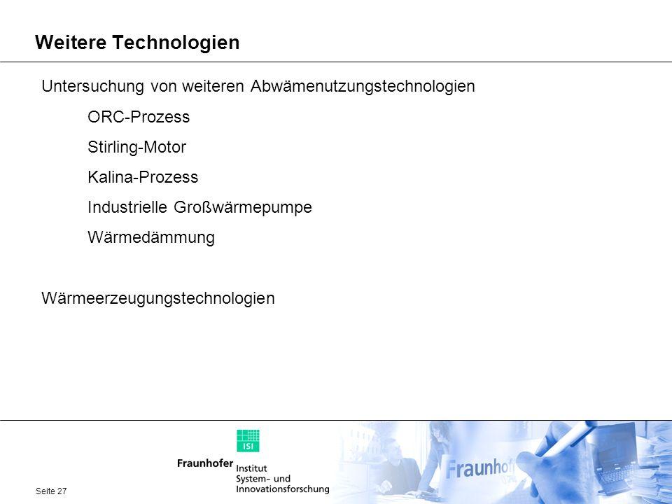Weitere Technologien Untersuchung von weiteren Abwämenutzungstechnologien. ORC-Prozess. Stirling-Motor.