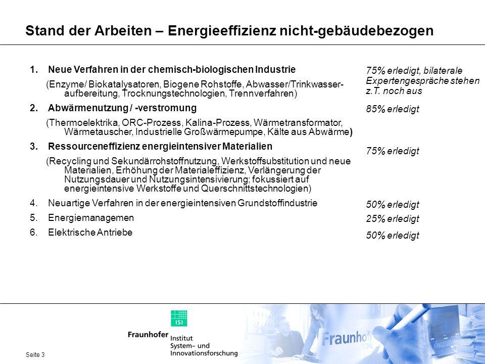 Stand der Arbeiten – Energieeffizienz nicht-gebäudebezogen