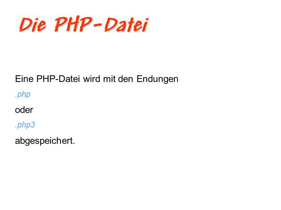 Die PHP-Datei Eine PHP-Datei wird mit den Endungen oder abgespeichert.