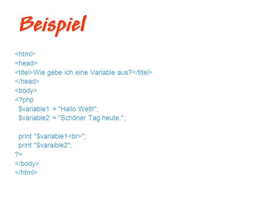 Beispiel <html> <head>