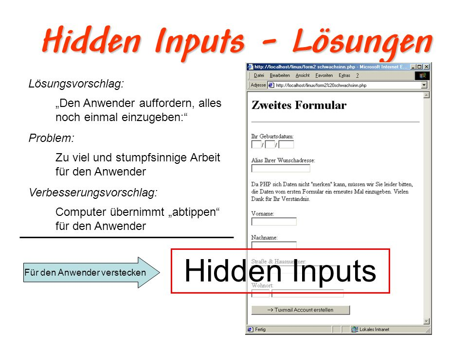 Hidden Inputs - Lösungen