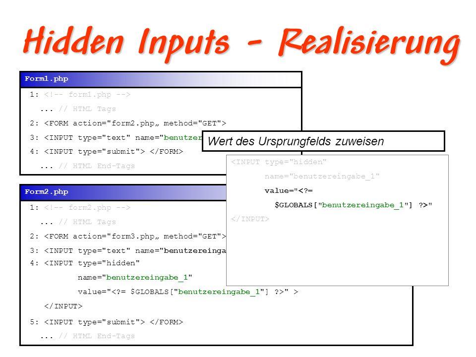 Hidden Inputs - Realisierung